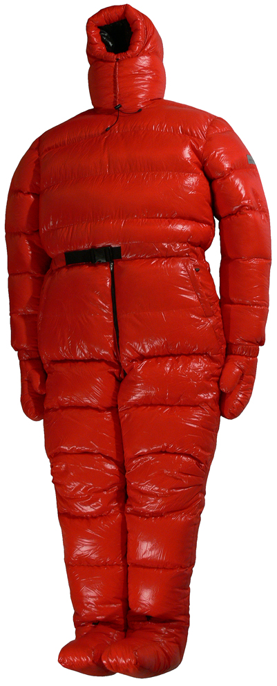 Down Overall Glosssuit Red Shiny With Back Opening Front Big